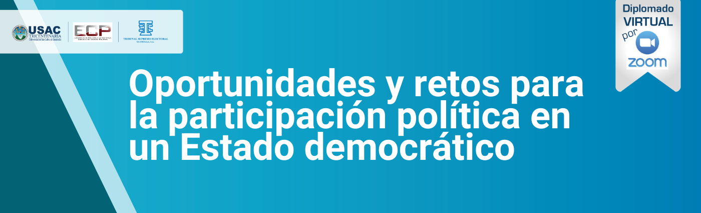 Banner Oportunidades y retos para la participación política en un Estado democrático.